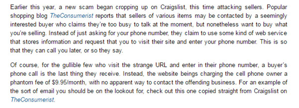 Cell Phone Craigslist Scam