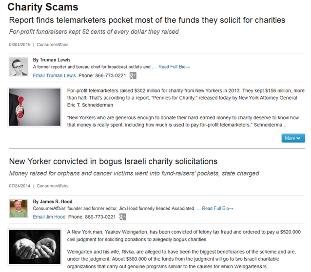 Report on charity scams