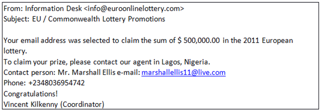 Nigerian Letters with fake IDs and Links - Example1