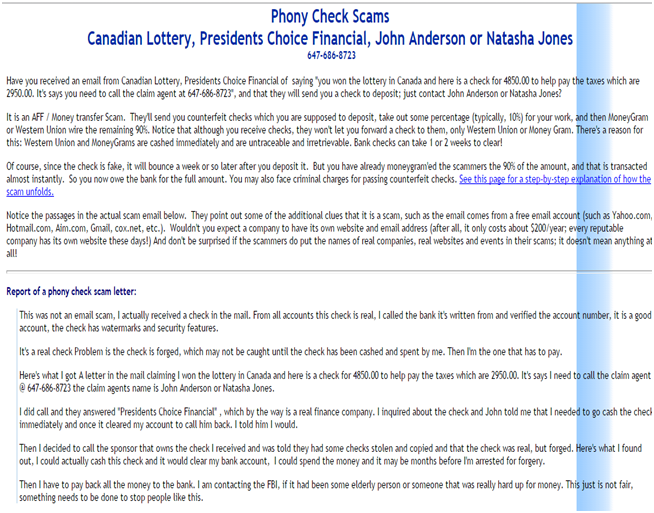 Phony check scams canadian lottery