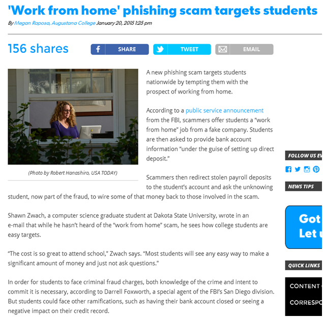 Students target for Work from Home Scam