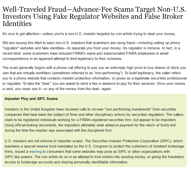 Advance fee scam using fake website and false broker identities