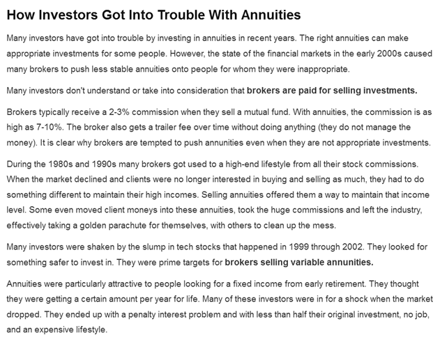 Investors trouble with Annuities