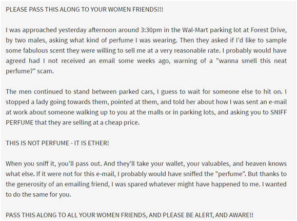 Awareness about Perfume Scam