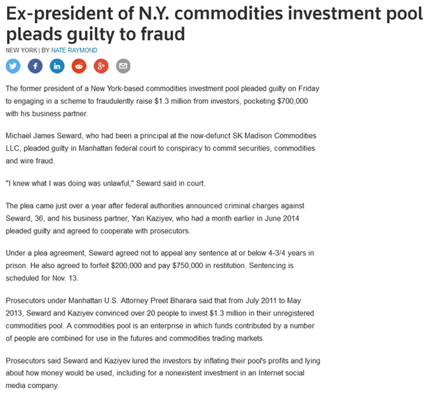 Commodity investment pool pleads guilty