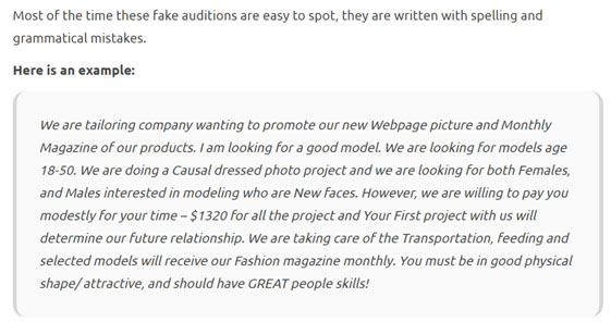 Modelling Scam Fake Auditions