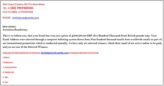 Foriegn Lottery Scam Email