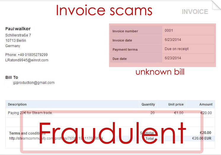 Beware of  Invoice Scams