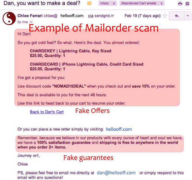 Examples of Mail Order Scam