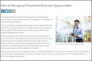 Recognize fraudulent business opportunities