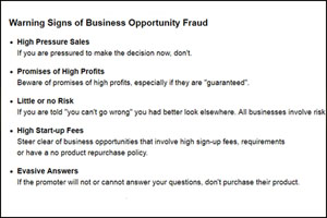 Warning sign of business opportunity fraud