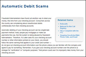 Automatic Debit scams