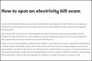 How to spot an electricity bill scam