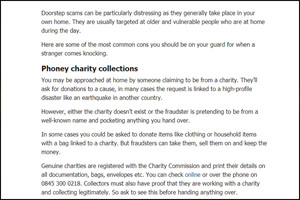Phoney charity collections
