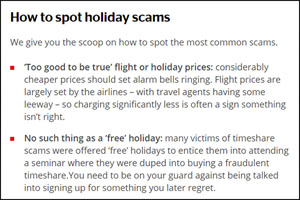 Spot holiday scam