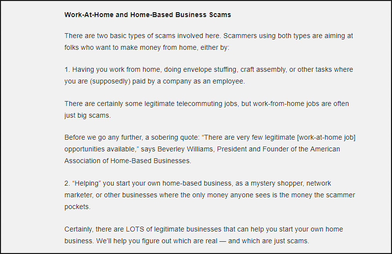 Work at home Scams and Schemes | Bogus schemes in work and