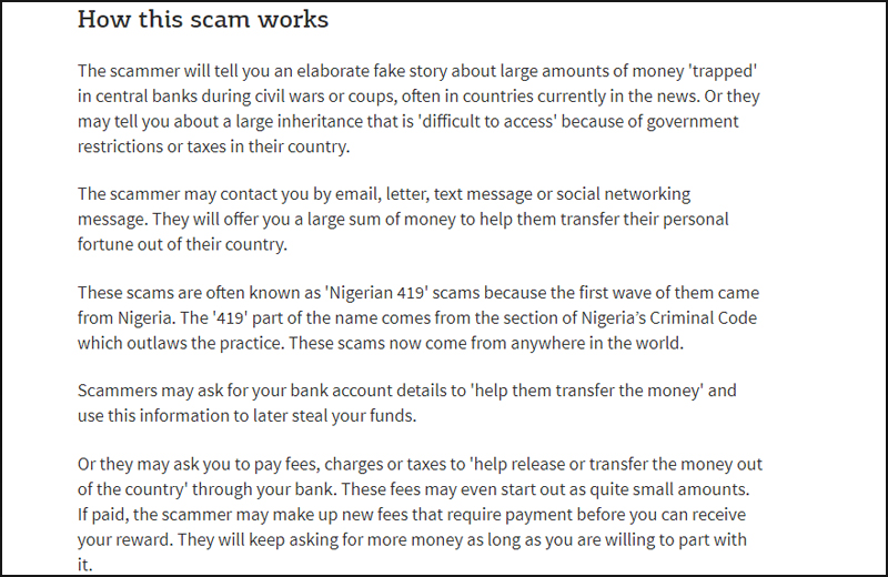 Nigerian dating scam letters from africa