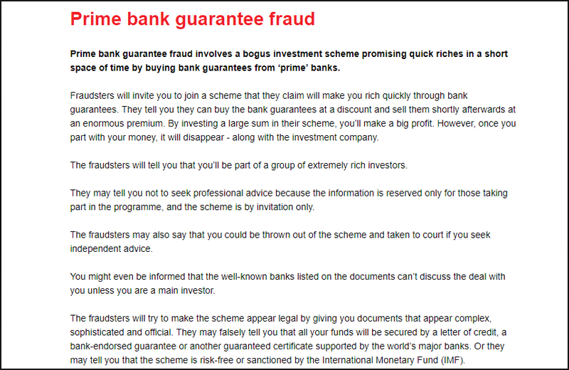 Prime Bank Guarantee Scams