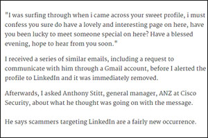 Linkedin scammers target