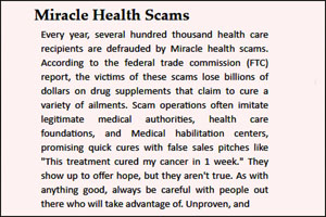 Miracle health scam