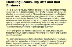 Modeling scam, Rip offs and bad business