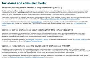 Tax scams and consumer alerts