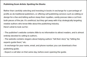 Publishing scam artists
