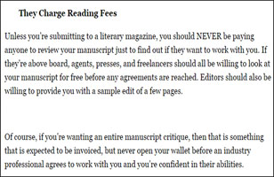 Charge for reading fees